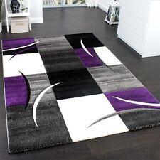 Designer Teppich mit Konturenschnitt Teppich Kariert Lila Schwarz Grau