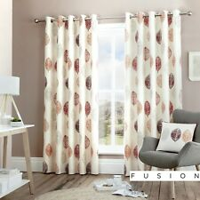 "Fusion Skandi Leaf 100 Cotton Lined Eyelet Curtains 229cmwx229cmd (90""x90"") Red"