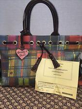 ~Dooney & Bourke*Plaid Madras Ladybug* Tassel Tote*Purse Handbag* #16257H