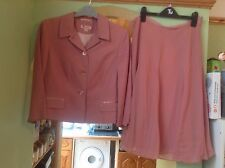BNNT LADIES DUSTY PINK SILK SUIT by MONSOON SKIRT SUIT SIZE UK 12