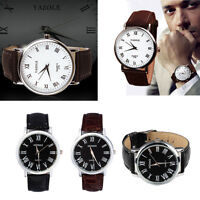 Fashion Men Watches Faux Leather Watch Analog Quartz Watches Sport Wrist Watch