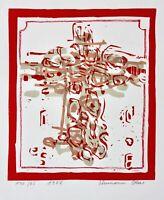 Hermann Ober (1920-1997) signierter Original Farblinolschnitt, Kreuz, 1987