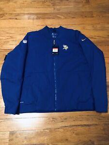 Nike Mens Large MINNESOTA VIKINGS Shield Sideline Bomber Full-Zip Jacket $200