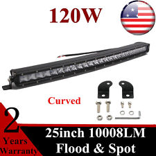 120W 25inch Curved LED Light Bar F+S Combo Single row 3D Offroad Toyota Roof 4WD