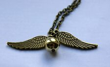 Harry Potter Bronzed Golden Snitch Quidditch Pendant Angel Wings Necklace UK