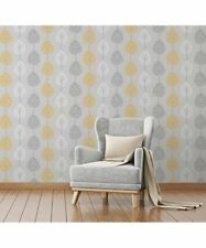Fine Decor Riva Wallpaper FD41594 Tree Grey/Yellow/White
