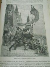 La Grande Crécelle de Nuremberg Gravure Old Print 1881