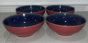 "Lot of 4 Denby ""Harlequin"" Soup Cereal Bowl - 6 1/2 Inch - Blue & Red ~ England"
