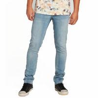 Volcom Men's 2x4 Skinny Fit Denim Jeans Wood Good Light Blue Clothing Apparel