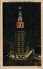 VTG Electric Building at Night in Buffalo New York NY Postcard