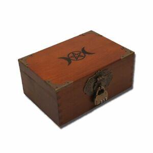 Vintage Altar Box, Triple Moon Goddess and Pentagram Wicca Box, Wooden Tarot Box