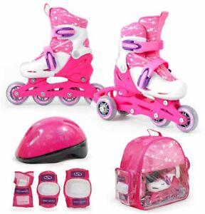 SMJ Kinder Mädchen 2in1 Inliner Rollschuhe VERSTELLBAR + Schutzausrüstung + Helm