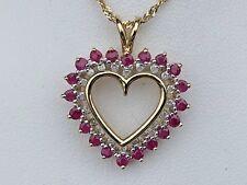 10K GOLD RUBY & DIAMOND HEART PENDANT 3.6 GRAMS