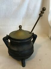 Vintage Black Cast Iron Fire Starter/Kettle Smudge Pot And Pumice Stick