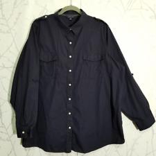 Land's End Navy Blue Long Sleeve Western Shirt w/ Epaulets | Men's 3XL