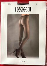 Wolford Louie Seamed Tights Pantyhose Large Navy-Black