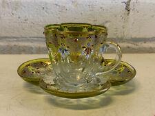 Antique Bohemian Moser Glass Quatrefoil Form Enamel Decorated Cup & Saucer