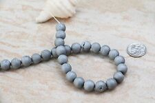 12 matte Silver tone Titanium electroplated Drusy Agate gemstone beads 10mm New