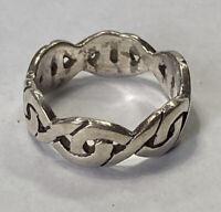 Vintage Sterling Silver 925 Celtic Knot Design Band Ring Size 6