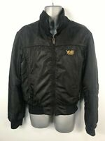MENS YELL INDUSTRY BLACK LIGHTLY PADDED BOMBER JACKET COAT ZIP UP SIZE LARGE
