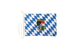 Deutschland Bayern mit Wappen Bootsfahne Bootfahne Fahnen Flaggen fürs Boot 30x4