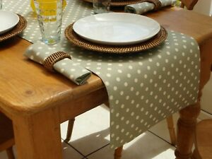 40x200cm VINTAGE SAGE WITH CREAM POLKA DOT STRAIGHT ENDED TABLE RUNNER - 6 SEAT