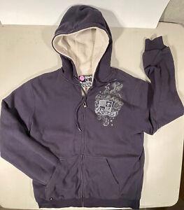 Quicksilver fleece lined hoodie.full zip,blue.medium.super soft.surf style