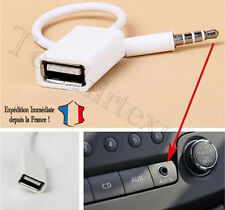 Câble Jack 3.5mm Stéréo Audio Prise Mâle Vers USB 2.0 Femelle Adaptateur - BLANC
