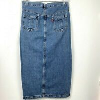 Levi's Size 8 Long Denim Jean Maxi Skirt Modest Straight Pencil Slit Pockets