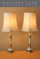 Stunning Pair Of Asian Regency Marble & Brass Table Lamps! Oriental Vtg Cooper