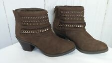 Sugar Tall Tale Women's Round Toe Canvas Brown Zip Up Ankle Boot  Size 8 ½ M