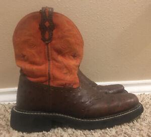 Women's Size 7.5 B Justin Gypsy Brown Ostrich Print & Orange Cowboy Boots L9967
