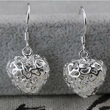 Fancy 925 Silver Hollow Heart Hook Earrings For Women Party Club Jewellery Gifts
