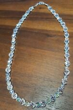 """Swarovski crystal beads necklace faceted swan logo 28"""" length No box"""