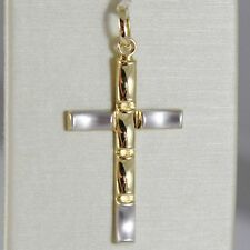 18K WHITE AND YELLOW GOLD CROSS STYLIZED VERY LUSTER MADE IN ITALY 1.34 INCHES