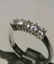 Anello veretta 6 griffe 5 diamanti naturali 0,50 ct oro bianco 18 kt  sconto 50%