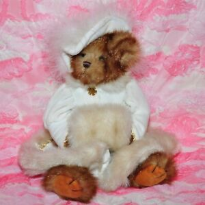 Bearington Collection Victoria Bear White Winter Coat & Hat With Feathers jewel