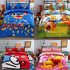 New Bedding Set cartoon kids Stitch bedclothes covers 4 pcs full Queen Bed Sheet