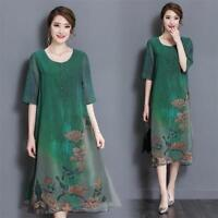 Womens Floral Loose Vintage Casual Summer Silk 3/4 Sleeve Tunic Maxi Long Dress