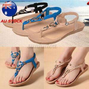 AU Women's Summer Casual Clip Toe Sandals Flats Beach Thong Ankl