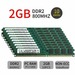 20GB 10x 2GB DDR2 PC2-6400U 800MHz 240Pin DIMM Desktop Memory For Samsung ZT UK