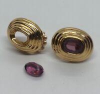 14k Gold Vintage Earrings Amethyst Repair (Stone Needs To Be Reglued)