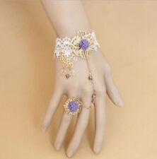 Women Girl Handmade White Lace Butterfly Flower Bracelet Ring sets Bride Jewelry