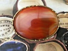 VINTAGE ANTIQUE JEWELLERY BROOCH BANDED AGATE SEMI PRECIOUS STONE COSTUME JEWEL