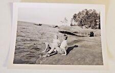 Vintage Black White Photo Children Playing Lake Ocean Water Vacation Rock Kids