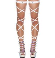 Paire de jarretières élastiques blanches strass transparent body leg wrap sexy