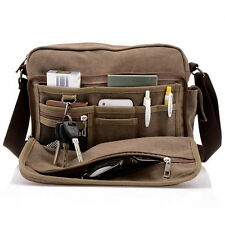 NEW Boys Men's Canvas Vintage School Satchel Military Messenger Shoulder Bags