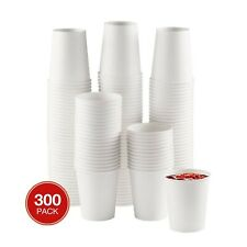 Netko Disposable White Paper Cups - 8oz , 300 Count Tea , Beverage Drinking Cups