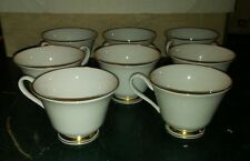 Oxford Andover Set Of 10 Footed Cups Lenox White Gold USA Bone China Tea Mug WOW