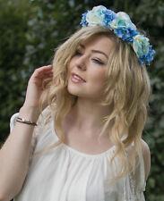 Bleu Clair Rose Fleur D'hortensia Cheveux Couronne Bandeau Guirlande De Fleurs